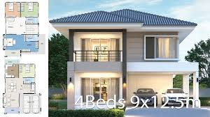 104 Housedesign House Design Plan 9x12 5m With 4 Bedrooms Home Ideas