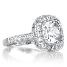 Gina S Vintage Style Halo Cushion Cut Cz Engagement Ring