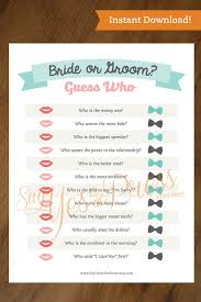 GUESS WHO Instant Download Bridal Shower Game Questionare