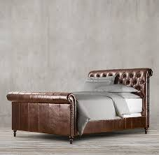 Leather Sleigh Bed With Footboard