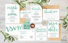 Wedding Invitation Set Suite Invitations Australia Green Stationery