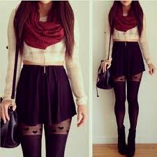 Black Skater Skirt With Burgundy Scarf This Outfits My Favorite