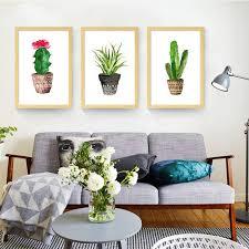 plante chambre simple cactus plante verte impressions sur toile de bande dessinée