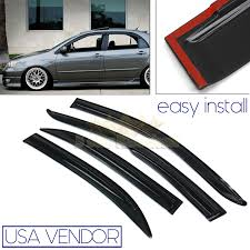 FOR 03-07 TOYOTA COROLLA USA WINDOW WIND DEFLECTOR RAIN GUARD BLACK ... How To Install Rain Guards Inchannel And Stickon Weathertech Side Window Deflectors In Stock Avs Color Match Low Profile Oem Style Visors Cc Car Worx Visor For 20151617 Toyota Camry Wv Amazoncom Black Horse 140660 Smoke Guard 4 Pack Automotive Lund Intertional Products Ventvisors And 2014 Jeep Patriot Cars Sun Wind Deflector For Subaru Outback Tapeon Outsidemount Shades Front Door Best Of Where To Find Vent 2015 2016 2017 Set Of 4pcs 1418 Silverado Sierra Crew Cab Shade