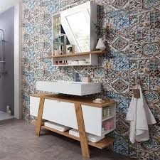 badezimmer spiegelschrank mit led beleuchtung sopot 01 in weiß mit navarra eiche nb bxhxt ca 90x91x25cm