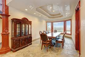 Luxury Bright Mansion Dining Room Features An Antique Dining.. Stock ...