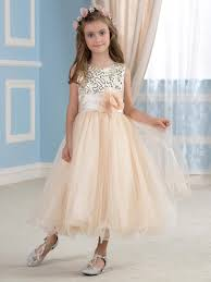 girls u0027 gold sequined tulle flower g flower gown tulle