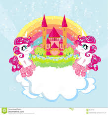 Download Card With A Cute Unicorns Rainbow And Princess Castle Stock Vector