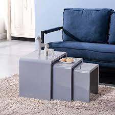goldfan beistelltisch 3er set moderne grau couchtisch wohnzimmer beistelltisch 3 tisch grau kaffeetisch set hochglanz
