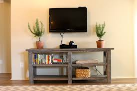 Console Tables Furniture Old And Vintage Custom Diy Rustic Wood Table With Bookshelf Rattan Basket
