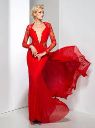 red evening dress long train cheap price long sleeve iullsion lace
