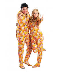 Orange Retro Monkeys Drop Seat Adult Pajamas
