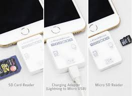 be a pact SD microSD card reader for iOS devices It not only lets you connect your memory cards to your phone but also serves as a charging adapter