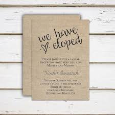 Printable Elopement Reception Invitation We Eloped Tied The Knot Got Hitched Burlap Rustic Only Casual Married MB091