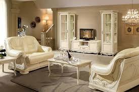 alesie luxus wohnzimmermöbel wohnwand im barock stil eiche cremeweiß mit goldener patina