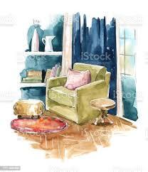 wohnzimmer aquarell innenskizze eine gemütliche ecke mit sessel am fenster stock vektor und mehr bilder aquarell