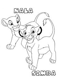 Funny Simba Nala Lion King Coloring Page