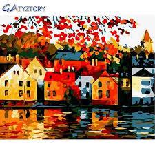 gatyztory diy malerei durch zahlen schöne stadt malen nach zahlen für kinder wand aufkleber wohnkultur wohnzimmer 40x50cm phot