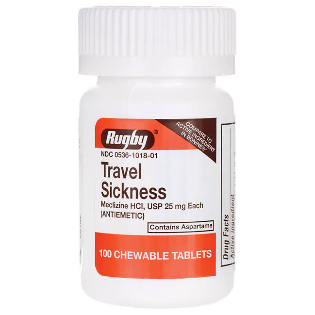 Rugby Travel Sickness Chewable - 25mg, 100 tablets