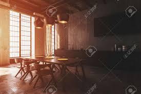 moderne esszimmer interieur mit deckenleuchten beleuchtet einen holztisch und moderne stühle mit warmem sonnenlicht durch große fenster 3d render
