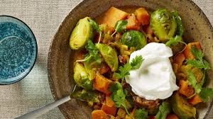Sprout Pumpkin Seeds Recipe by Curried Brussels Sprouts Chickpeas And Sweet Potatoes Recipe