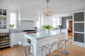 Soothing White and Gray Kitchen Remodel Transitional Kitchen