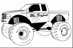 Impressive Color Monster Truck Coloring Page With Trucks Pages And Construction