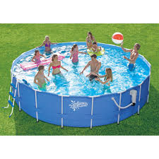 Exciting Blue Round Metal Framed Above Ground Pools Walmart