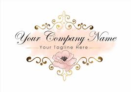 Digital Feminine Vintage Logo Custom Design Butterfly Pink Gold