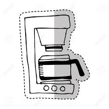 Coffee Machine Drawing Isolated Icon Vector Illustration Design Stock