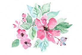 Watercolor Clipart Pastel Pink Purple Flowers Clip Art Digital Hand