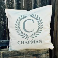 Personalized Laurel Wreath Throw Pillow