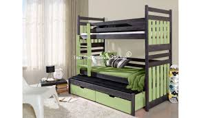 vente lit en bois massif superpose 3 places mahe mobilier ado en