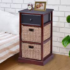 US $99.99 |Giantex 3 Tiers Wood Nightstand With 1 Drawer 2 Baskets Modern  Bedside End Table Organizer Brown Bedroom Furniture HW56724 On ... Dark Brown Bedroom Fniture With Red Accsories Fitted Amazoncom Esofastore Castor Collection Transitional Dectable Bedroom Fniture Decorating Ideas White Details About Queen Size Wooden Bed Frame Solid Acacia Wood Brown Chic U S A Licious Light Chairs With Swing Chair Hgtv 65 Photos 42 Gorgeous Grey Bedrooms Elegant Decor Chocolate Black Sage And Beautiful Leather Sofa Black Video