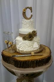 Rustic Non Smooth White Wedding Cake Burlap Band And Roses Twine Covered