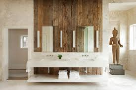 Rustic Wall Decor Ideas Bathroom With Mounted Faucet Terracotta Statue