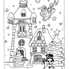 CHRISTMAS VILLAGE Coloring Pages Snow Covered House