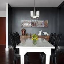 Black Dining Room With White Farmhouse Table