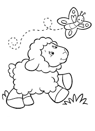 Baby Sheep Following A Butterfly Coloring Page