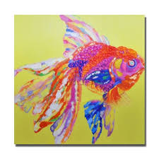Pretty Pink Fish Painting Modern Decoration Wall Art Bedroom Decor Pictures Canvas High Quality Oil