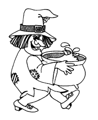 Witch Carying A Cauldron Coloring Pages Halloween