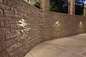 stucco with accent retaining wall wall lighting mokena