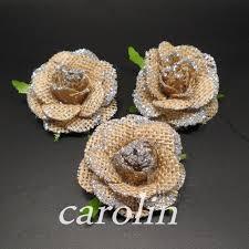 20pcs Lot Natural Jute Burlap Hessian Flower Handmade Rustic Wedding Decor DIY Craft Supplies Vintage