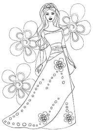 Princess Coloring Pages Floral Dress For Princesses Batch