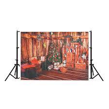 7x5ft Red Christmas Tree Living Room Photography Backdrop Studio