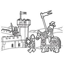 Lego Knight In Front Of Castle Mike The Coloring Page