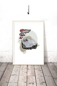 Botanical Mushroom Print Shabby Chic Wall Art Digital Download Prints Printable Poster