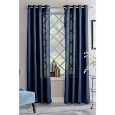 shop allen roth janston 84 in blue cotton grommet light