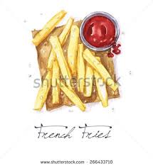 French Fries Watercolor Food Collection