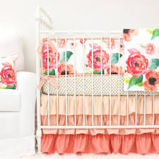 Coral And Mint Crib Bedding by Boho Chic Floral Ruffle Crib Bedding Caden Lane